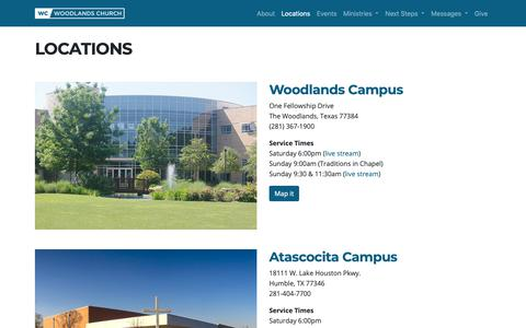 Screenshot of Locations Page wc.org - Locations - Woodlands Church - captured Sept. 26, 2018