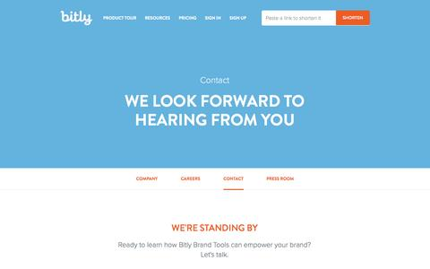 Screenshot of Contact Page bitly.com - Contact Us | Bitly - captured Oct. 29, 2014