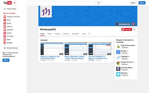Screenshot of YouTube Page youtube.com - MindscapeHQ  - YouTube - captured Oct. 22, 2014