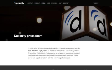 Screenshot of Press Page doximity.com - Doximity in the Press - captured April 20, 2016