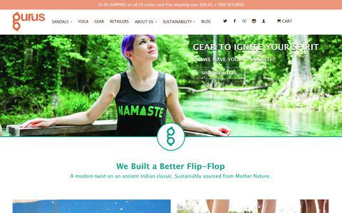 Screenshot of Home Page ilovegurus.com - Gurus Natural Sandals and Sustainable Cork Yoga Mats - captured July 2, 2017