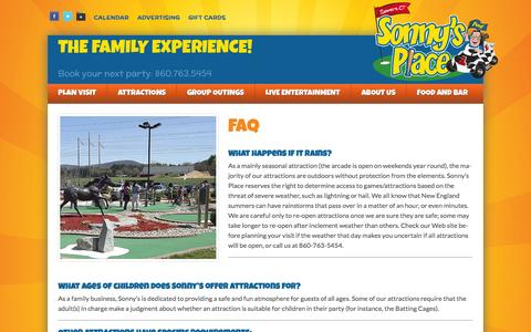 Screenshot of FAQ Page sonnysplace.com - FAQs - Sonny's Place - captured Oct. 9, 2014