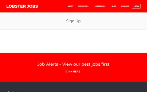 Screenshot of Signup Page lobsterjobs.co.uk - Sign Up - Lobster Jobs - captured May 22, 2017