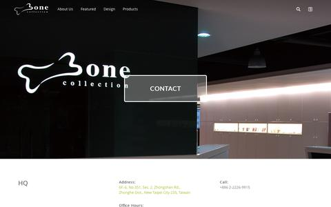 Screenshot of Contact Page bonecollection.com - Bone Collection - Contact - captured July 28, 2016