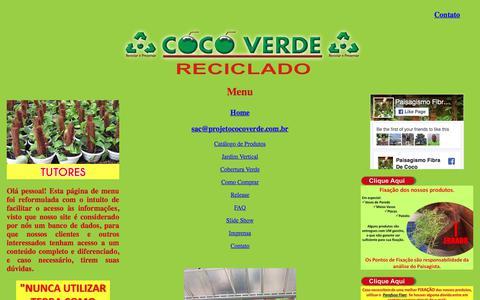 Screenshot of Menu Page cocoverderj.com.br - Menu | Coco Verde Reciclado - captured Aug. 11, 2017