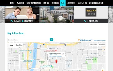 Screenshot of Maps & Directions Page parkplacegr.com - Map and Directions to Park Place Apartments in Grand Rapids, MI - captured Dec. 14, 2018
