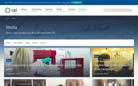 Screenshot of Press Page uk-cpi.com - Media - CPI - captured Sept. 27, 2018