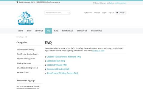 Screenshot of FAQ Page colourpresentations.com - FAQ - SteelCrystal Covers - captured Oct. 28, 2014