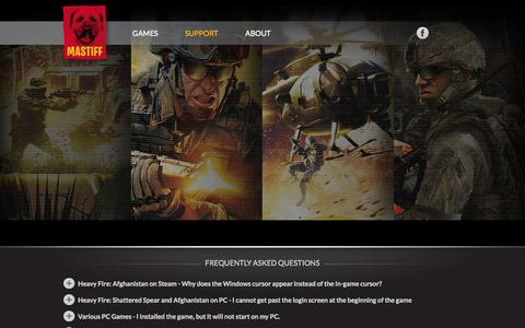 Screenshot of Support Page mastiff-games.com - Mastiff Games - captured Oct. 4, 2014