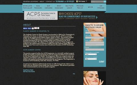 Screenshot of About Page mybeautifulbody.com - About ACPS   Houston TX Cosmetic Surgery & Plastic Surgery Specialists - captured Oct. 4, 2014