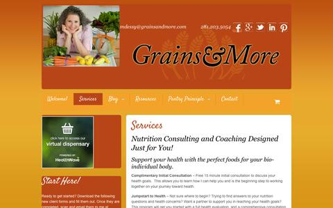 Screenshot of Services Page grainsandmore.com - Nutrition consulting and coaching for healthy eating | Mira Dessy - captured Oct. 3, 2014