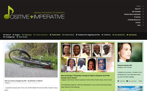 Screenshot of Home Page positiveimperative.com - Positive Imperative | Positive Imperative - Driving The World To Positivity | Developing Positive Tools And Sharing The Need For Congruent Positivity. - captured Oct. 9, 2015