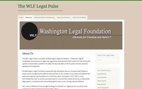 Screenshot of About Page wlflegalpulse.com - About Us – The WLF Legal Pulse - captured March 2, 2016