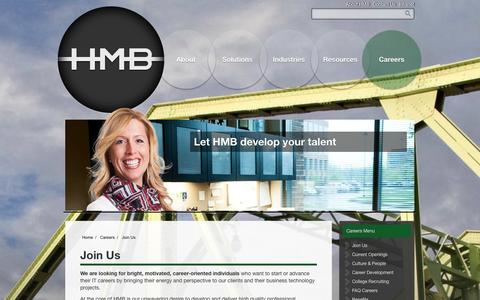 Screenshot of Jobs Page hmbnet.com - HMB - Careers in IT Consulting & IT Services - Columbus, Ohio - captured Oct. 1, 2014