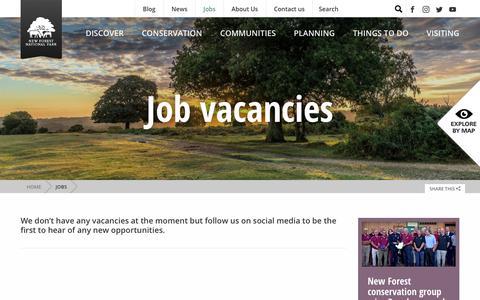 Screenshot of Jobs Page newforestnpa.gov.uk - Jobs - New Forest National Park Authority - captured Sept. 22, 2018
