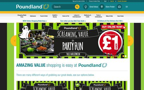 Screenshot of Home Page poundland.co.uk - Poundland - captured Oct. 1, 2015