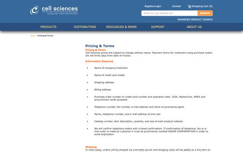Screenshot of Terms Page cellsciences.com - Pricing & Terms |  Cell Sciences - captured Sept. 27, 2018