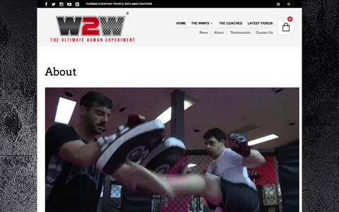 Screenshot of About Page wimp2warrior.com.au - About - Wimp 2 Warrior - Transforming everyday people into MMA fighters - captured Oct. 26, 2014