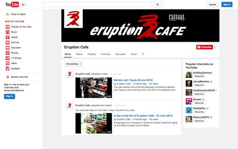 Screenshot of YouTube Page youtube.com - Eruption Cafe  - YouTube - captured Oct. 22, 2014