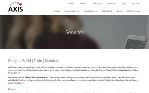 Screenshot of Services Page axisgroup.com - Services - Axis Group - captured Dec. 31, 2016