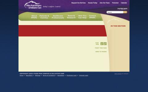 Screenshot of Terms Page pikespeakhospice.org - Pikes Peak Hospice & Palliative Care | Terms & Conditions - captured Oct. 2, 2014