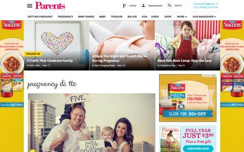 Screenshot of Home Page parents.com - Parents - Pregnancy, Birth, Babies, Parenting - Parents.com - captured Nov. 11, 2015