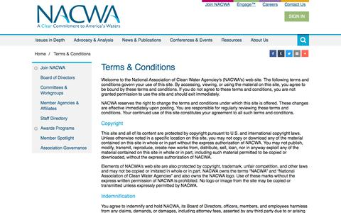 Screenshot of Privacy Page Terms Page nacwa.org - Terms & Conditions - captured Oct. 19, 2017