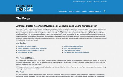 Screenshot of About Page commerceforge.com - Boston Area E-commerce & E-business Consultants : Commerce ForgeCommerce Forge - captured Sept. 30, 2014