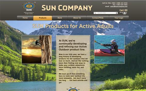 Screenshot of Products Page suncompany.net - Sun Company outdoor accessories for active adults - captured Dec. 17, 2016