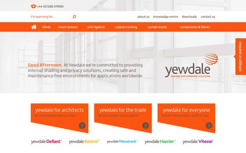 Screenshot of Home Page yewdale.co.uk - Window blind, shading and screen solutions to the trade - Yewdale - captured Jan. 10, 2016