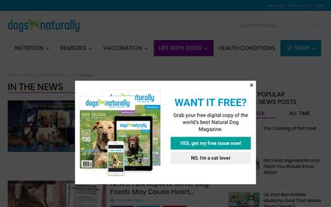 Screenshot of Press Page dogsnaturallymagazine.com - In The News - captured Nov. 14, 2018