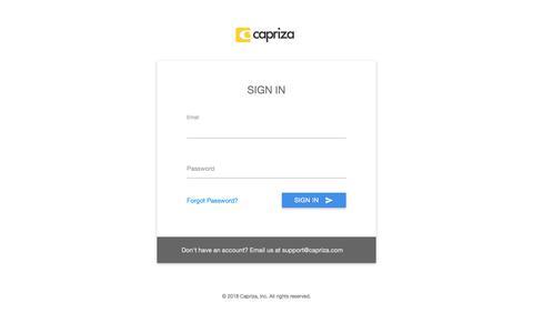 Screenshot of Login Page capriza.com - Capriza Sign In - captured July 5, 2018