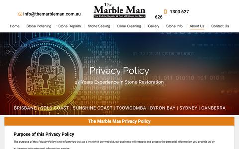 Screenshot of Privacy Page themarbleman.com.au - Privacy Policy - Polish, Repair, Seal, Clean Stone - THE MARBLE MAN - captured Oct. 20, 2018