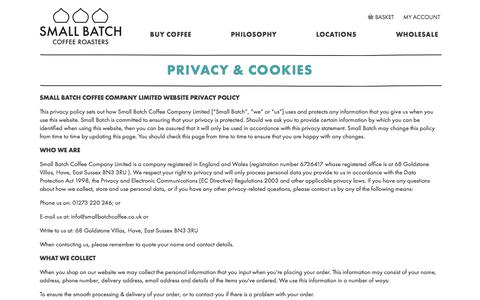 Screenshot of Privacy Page smallbatchcoffee.co.uk - Privacy & Cookies - captured Oct. 5, 2017