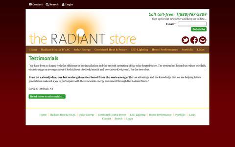 Screenshot of Testimonials Page theradiantstoreinc.com - Testimonials   The Radiant Store - captured Jan. 12, 2016