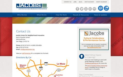 Screenshot of Contact Page Maps & Directions Page jacobscenter.org - CONTACT US | Jacobs Center for Neighborhood Innovation | San Diego - captured Oct. 23, 2014