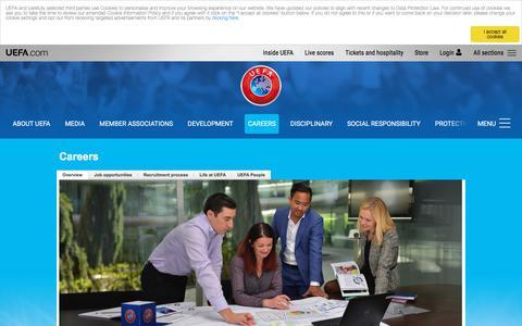 Screenshot of Jobs Page uefa.com - Careers - Inside UEFA – UEFA.com - captured Sept. 21, 2018