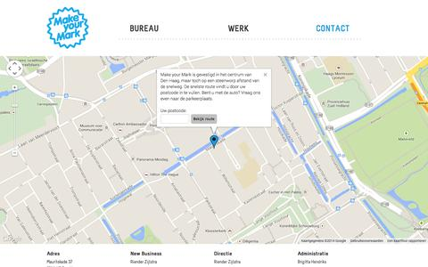 Screenshot of Contact Page makeyourmark.nl - Contact - Make your Mark - captured Sept. 30, 2014