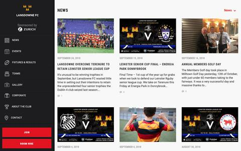 Screenshot of Press Page lansdownerugby.com - News Archives - Lansdowne FC - captured Sept. 27, 2018