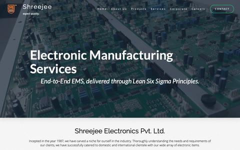 Screenshot of Services Page shreejee.co - Services – Shreejee Electronics Pvt. Ltd. - captured Oct. 20, 2018