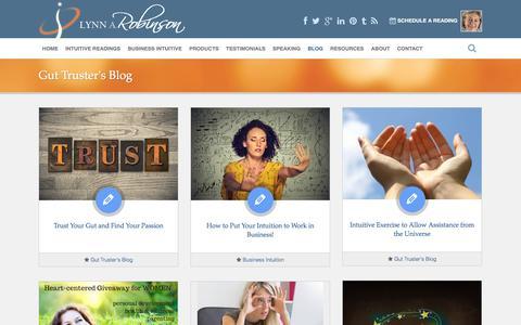 Screenshot of Blog lynnrobinson.com - Gut Truster's Blog | Lynn A. Robinson - captured Jan. 17, 2016