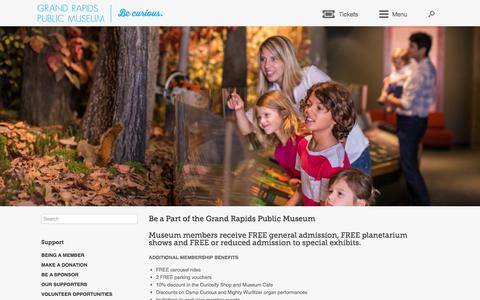 Screenshot of Signup Page grpm.org - Be a Part of the Grand Rapids Public Museum – Grand Rapids Public Museum - captured July 6, 2017