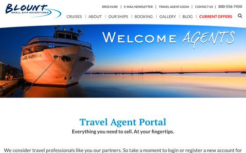 Screenshot of Login Page blountsmallshipadventures.com - Travel Agent Login - captured Aug. 2, 2018