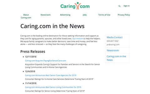 Screenshot of Press Page caring.com - Caring.com in the News - captured Feb. 21, 2019