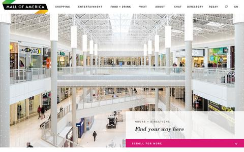 Screenshot of Maps & Directions Page Hours Page mallofamerica.com - Plan Your Trip > Hours + Directions | Mall of America - captured Sept. 24, 2018
