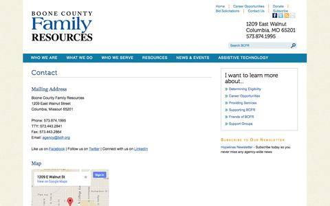 Screenshot of Contact Page Maps & Directions Page bcfr.org - Contact - captured Oct. 23, 2014