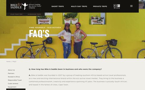 Screenshot of FAQ Page bikeandsaddle.com - Bike and Saddle - FAQ's - captured Aug. 2, 2018