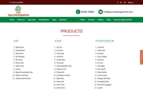 Screenshot of Products Page ayurvedayogashram.com - Ayurvedic Products | Ayurvedic Medicine - captured Feb. 4, 2020