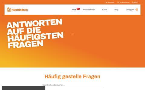 Screenshot of FAQ Page hierbleiben-jobs.de - Antworten auf die häufigsten Fragen - captured Nov. 3, 2018