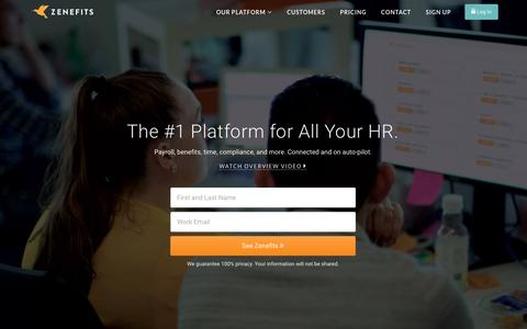 Screenshot of Home Page zenefits.com - Zenefits: Online HR Software | Payroll | Benefits - All-In-One - captured Feb. 2, 2016
